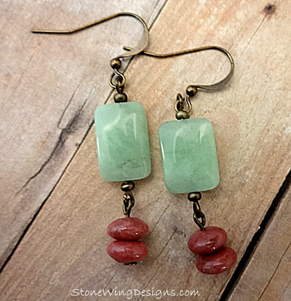 Mint Green Boho Earrings, Mint Chrysoprase and Rhodonite Earrings