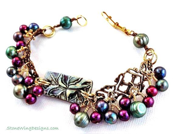 Pearl Bracelet, Boho Bracelet, Bohemian Style, Eclectic Jewelry, Green Bracelet, Pink Bracelet, Brass Filigree Jewelry, Vintage Style