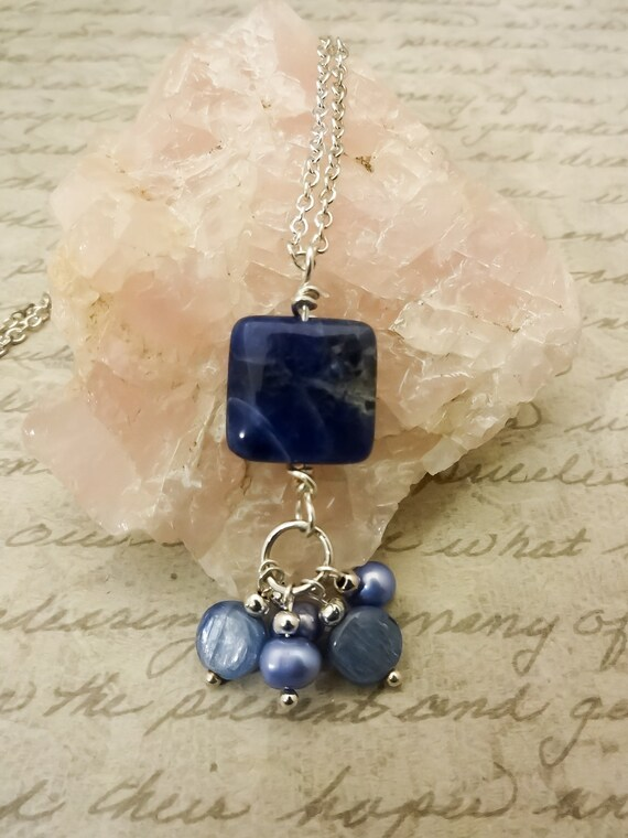 Sodalite Kyanite and Blue Pearl Necklace, Blue Gemstone Pendant, Cluster Necklace, Sodalite Jewelry, Gift for Her, Gift for Wife