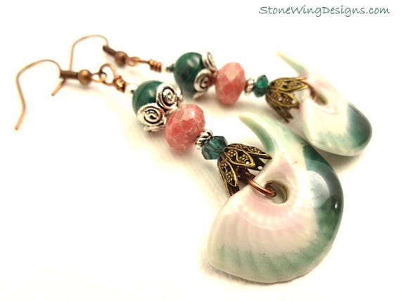 Artisan Ceramic, Malachite, Rhodonite and Mixed Metal Earrings