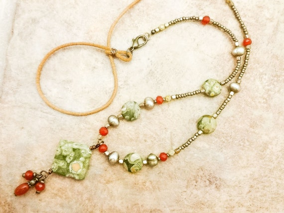 Rainforest Jasper Green Pearl and Carnelian Necklace, Long Leather and Stone Necklace, Jasper Pendant, Gift for Mom
