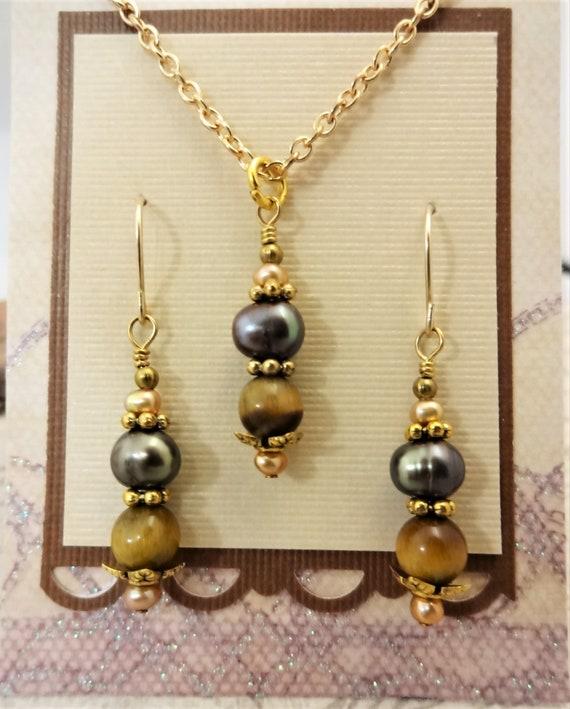 Necklace Earrings and Bracelet Set, Gemstone Jewelry Set, Tigers Eye and Pearls, Gemstone Jewelry Set, Gift for Women