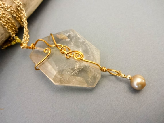 Quartz Crystal Gemstone Necklace, Pendant Necklace, Wire Wrapped Pendant On Gold Chain