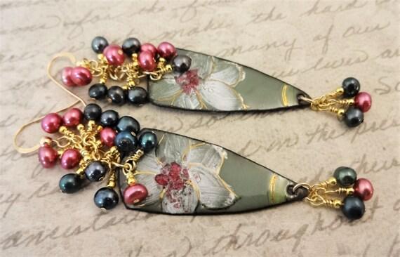 Artisan Enamel Earrings, Rose Green and White Flower Earrings, Artisan Earrings with Rose and Green Pearls