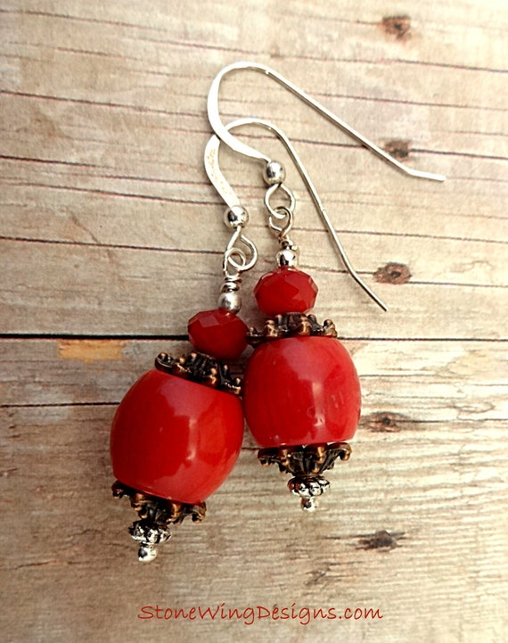 Red Coral Earrings, Red Coral and Sterling Silver Earrings, Rustic Boho Earrings, Red Earrings