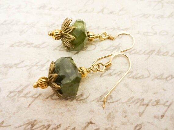 Vesuvianite Green Gemstone Earrings, Rustic Dark Green Gemstone Earrings with 14k Gold Fill Ear Wires, Gift for Mom