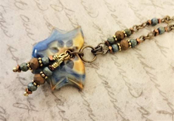Blue and Tan Ceramic Necklace with Czech Glass Rondelles on Antique Gold Chain, Gift for Her