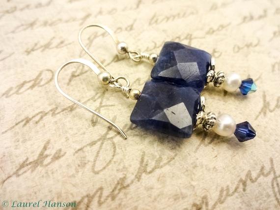 Sodalite and Pearl Earrings, Natural Blue Gemstone Earrings, Boho Earrings, Sterling Silver, Blue Earrings