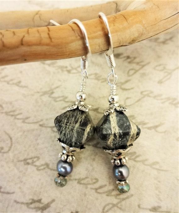 Zebra Jasper, Pearl and Crystal Earrings, Green Zebra Jasper Gemstone Earrings, Gift for Her