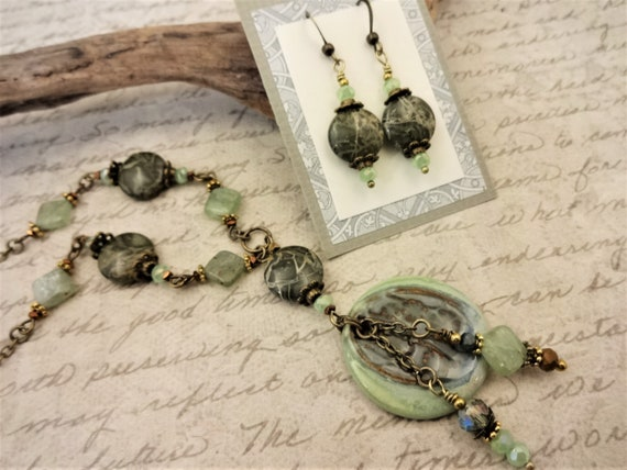 Artisan Ceramic Pendant with Green Kyanite, Green Jasper and Czech Firepolish Necklace, Bohemian Pendant Necklace on Beaded Chain