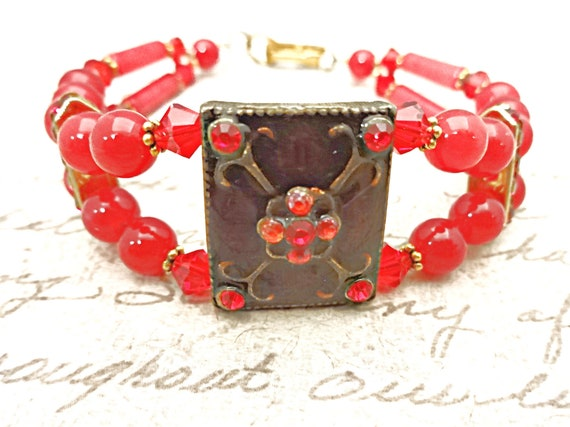 Red Jade and Swarovski Crystal Bracelet, Boho Style Jewelry, Unique Stone Jewelry, Red Stone Bracelet, Gift for Her, Gift for Mom