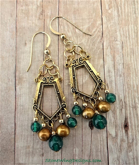 Chandelier Earrings with Green Onyx and Gold Pearls, Art Deco Style, Green Gemstones, Gift for Her