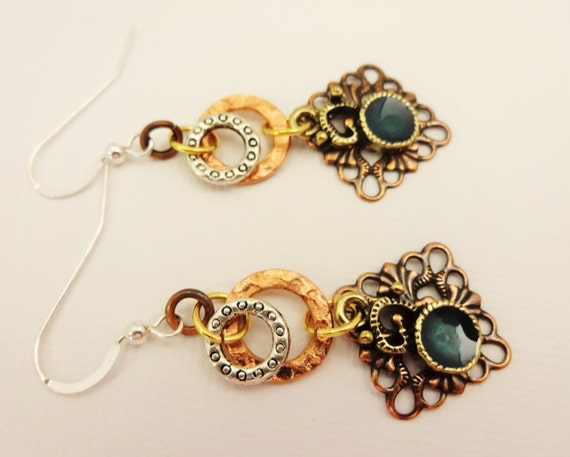 Mixed Metal Earrings with Copper, Sterling Silver and Antique Brass Filigree