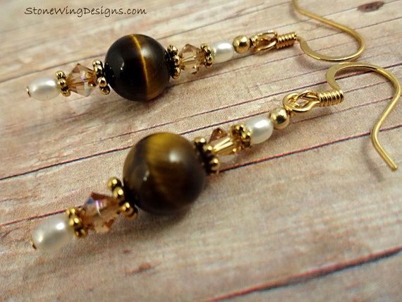 Tiger Eye Earrings, Tigereye Earrings, Tigers Eye, Gemstone Earrings, Brown Stone Jewelry, Gemstone Jewelry, Stone and Pearl, Long Earrings