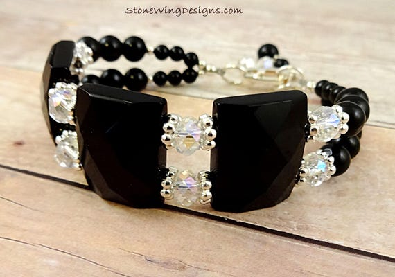 Black Onyx and Swarovski Crystal Bracelet, Statement Jewelry, Black Gemstone, Chunky Two Strand Bracelet, Little Black Dress Accessory