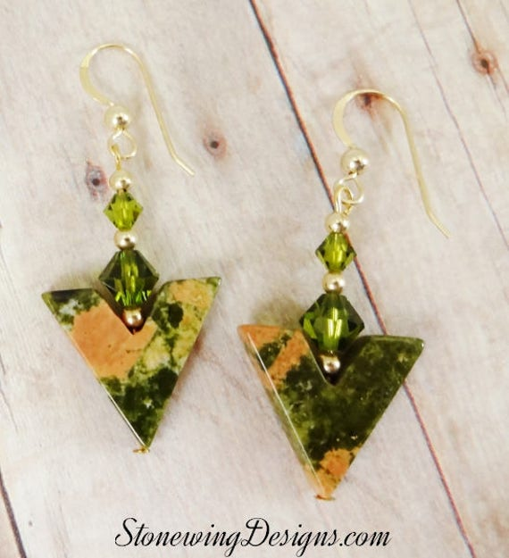 Unakite Earrings, Green Earrings, Unakite and Crystal, Gemstone Earrings, Green Stones, Rustic Jewelry, Stone Earrings, Earthy Earrings