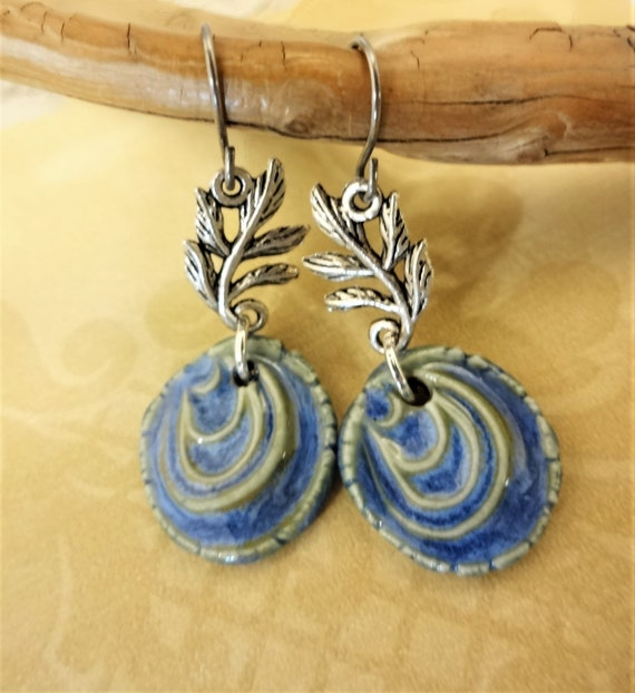 Dainty Blue and Green Ceramic Earrings, Metal Leaves and Ceramic Drop Earrings, Gift for Her, Unique One of a Kind