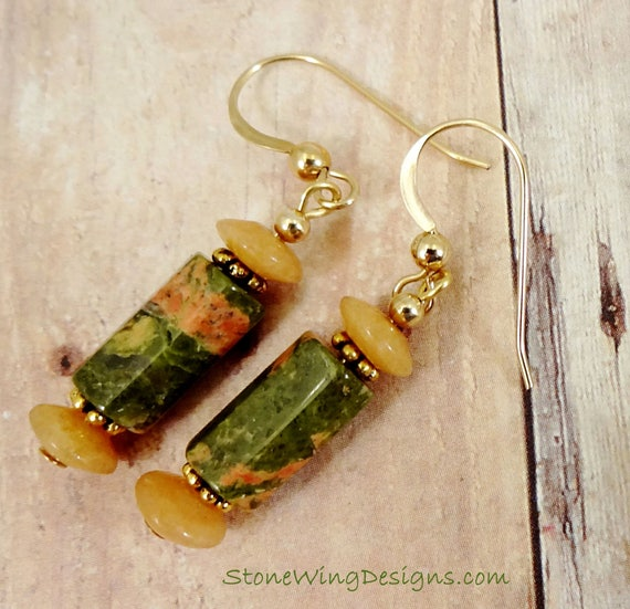 Unakite Earrings, Gemstone Earrings, Orange and Green Earrings, Fall Colors, Rustic Jewelry, Stone Earrings, Fall Earrings, 14k Gold Fill