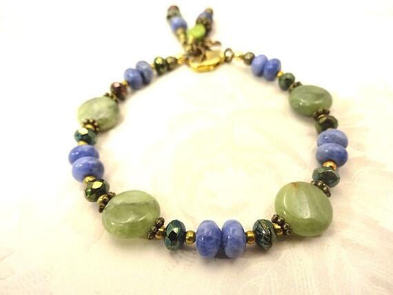 Boho Rustic Bracelet Sodalite Bracelet Green Garnet Bracelet Gemstone Bracelet Boho Jewelry rustic stone jewelry Blue and Green Bracelet