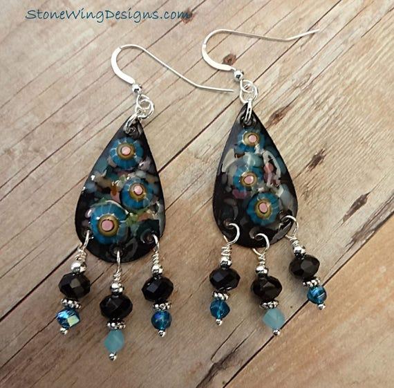 Artisan Made Enamel, Black Onyx and Blue Glass Earrings