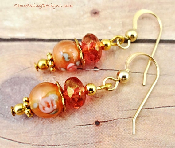 Peach Lamp Glass Earrings, Peach Glass Earrings, Lamp Glass Earrings, Peach Flower Earrings, Peach Earrings, Orange Earrings, Flower Glass