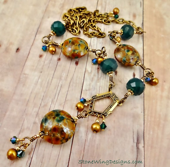 Wire Wrap Y Necklace in Gemstones, Pearls and Lampwork Glass