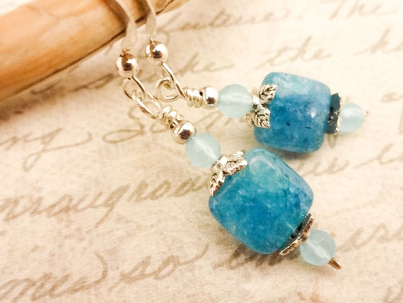 Apatite and Chalcedony Gemstone Earrings, Blue Apatite and Aqua Chalcedony Stone Earrings, Blue Gemstone Jewelry