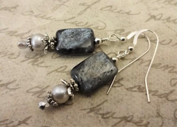 Larvikite Gemstone Earrings, Gray Black Gemstone Earrings, Gray Gemstones and Pearl Earrings, Gift for Wife