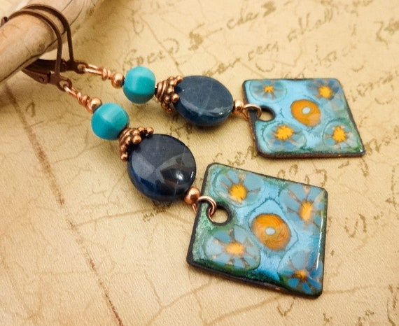 Artisan Enamel, Blue Apatite, Turquoise Earrings, Gemstone and Enamel, Artisan Earrings, OOAK One of a Kind, Blue Earrings, Boho Earrings