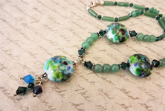Lampwork Glass and Green Aventurine Necklace, Colorful Jewelry, Gift for Her