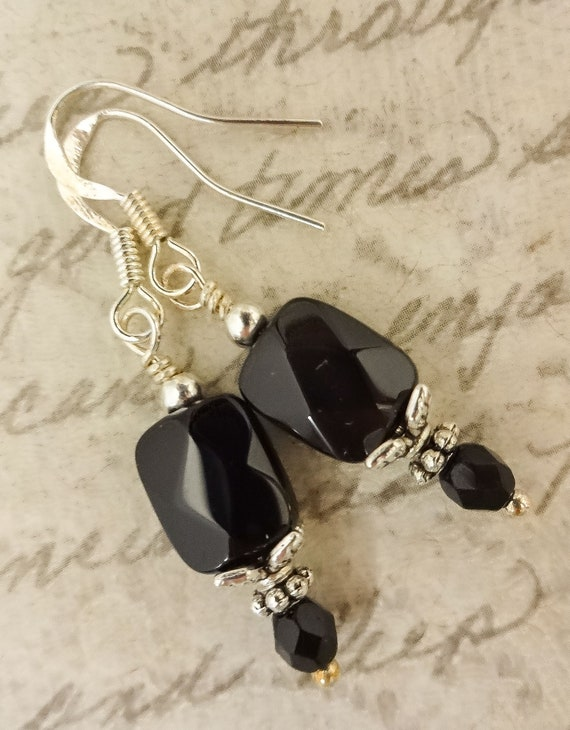 Black Onyx Gemstone Earrings with Sterling Silver, Faceted Rectangle Earrings, Black and Silver Jewelry, Gift for wife