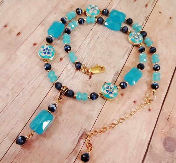 Blue Quartz and Enamel Necklace