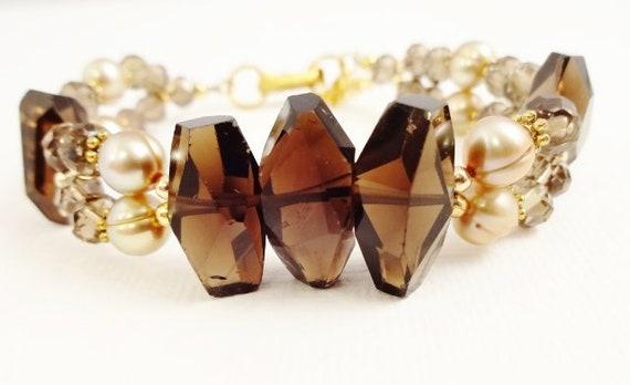 Smokey Quartz Bracelet, Smokey Quartz Jewelry, Gemstone Bracelet, Gemstone Jewelry, Brown Stone Bracelet, Stone Bracelet, Bohemian Bracelet