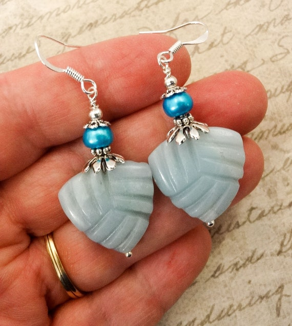 Amazonite Earrings, Aqua Gemstone Earrings, Stone and Pearl Jewelry, Gift for Mom, Mothers Day Gift Ideas
