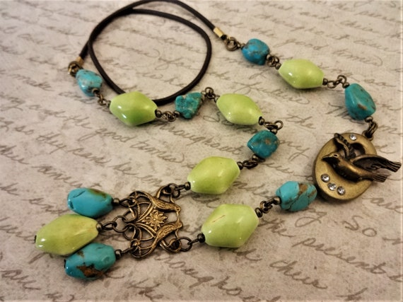 Turquoise Love Birds Vintage Style Necklace with Brass Filigree Turquoise Nuggets and Lime Green Ceramic, Published Design