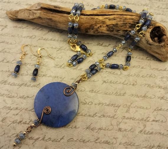Dumortierite Jewelry, Stone Necklace, Wire Wrap Pendant, Casual Necklace, Blue Jean Jewelry, Everyday Necklace, Boho Necklace, Blue Necklace