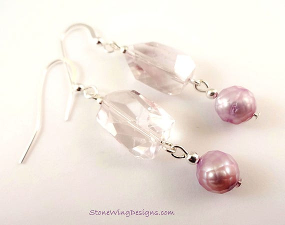 Lavender Amethyst Nuggets and Pearl Earrings
