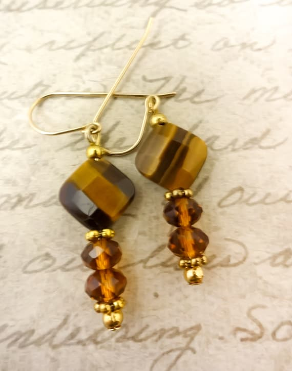 Tiger Eye and Crystal Gemstone Earrings, Brown Dangle Earrings, 14k Gold Fill Earrings, Mothers Day Gift, Gift for Her