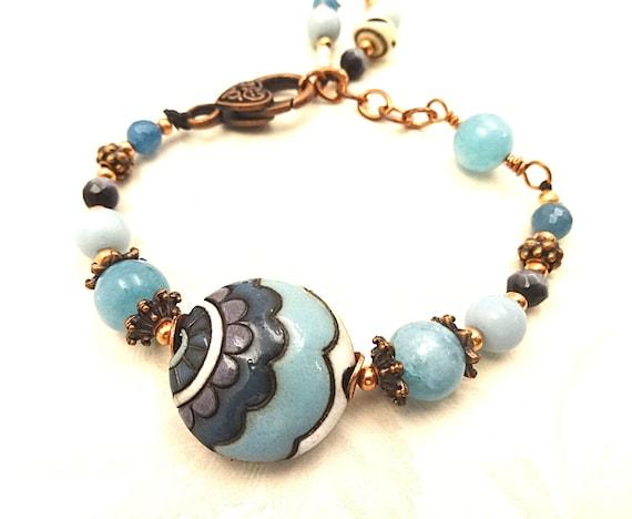 Boho Rustic Golem Studio Ceramic and Amazonite, Blue Apatite and Copper Bracelet