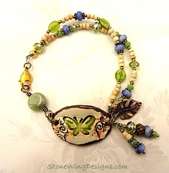 Green Garnet Bracelet Butterfly Bracelet Sodalite Bracelet Bohemian Bracelet Boho Bracelet Casual Bracelet Rustic Bracelet Gemstone Bracelet