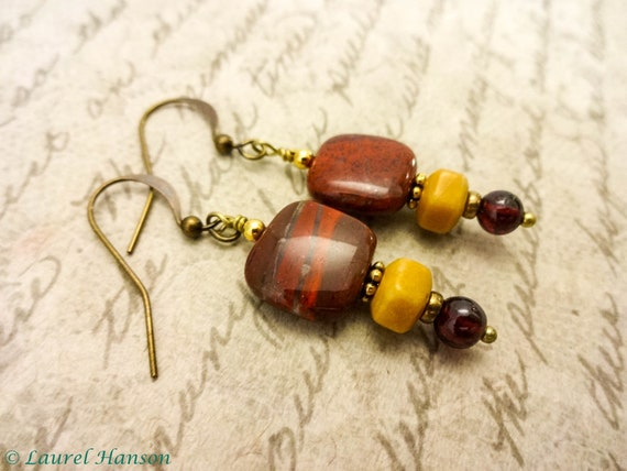 Bohemian Poppy Jasper Earrings, Yellow Jasper and Garnet Gemstone Earrings, Stone Earrings Rustic Earrings Gift for Mom