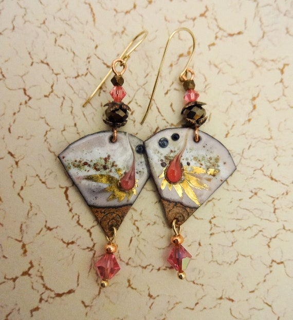 Artisan Enamel Earrings, Rose Crystal and Enamel Earrings, One of a Kind Handmade Earrings, Gift for Her