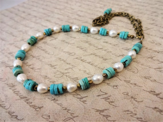 Turquoise and White Pearl Necklace with Antique Brass, Boho Luxe Necklace, Gift for Her, Genuine Turquoise