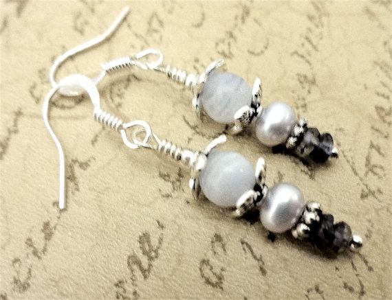 Blue Lace Agate, Freshwater Pearl and Iolite Gemstone Earrings, Light Blue Stone Earrings, Gift for Wife