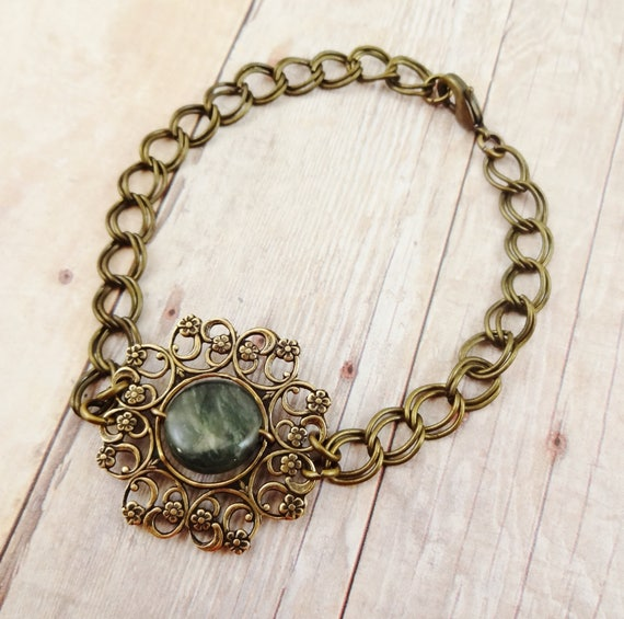 Boho Rustic Gold Filigree and Chain Bracelet with Wire Wrapped Jasper