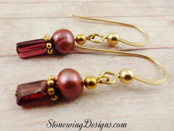 Garnet and Pearl Earrings