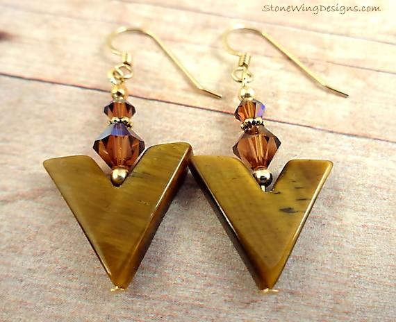 Tiger Eye and Swarovski Crystal Earrings, Tigers Eye Earrings, Brown Gemstone Earrings, Gift for Her