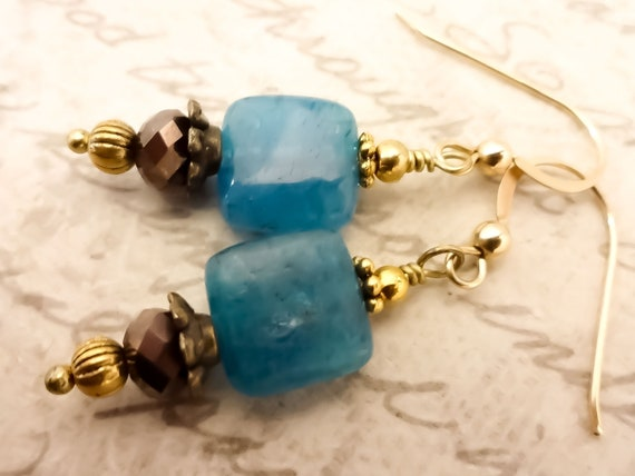 Blue Apatite Gemstone Earrings with 14k Gold Fill Wires