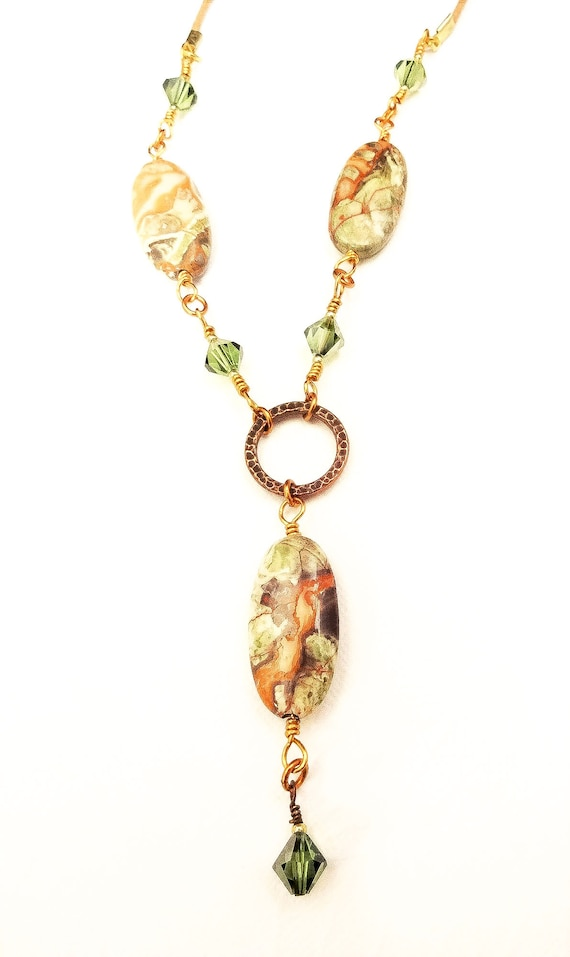 Mushroom Jasper, Swarovski, Copper and Leather Casual Necklace, Gift for Girlfriend, Bohemian Necklace
