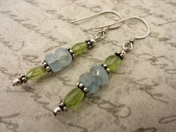 Peridot and Aquamarine Earrings, Gemstone Earrings, Birthstone Earrings, Birthstone Jewelry, Gift for Her, Gift for Wife